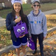 COGS eboard hands out candy to trick or treaters during 2019 Safe Halloween event