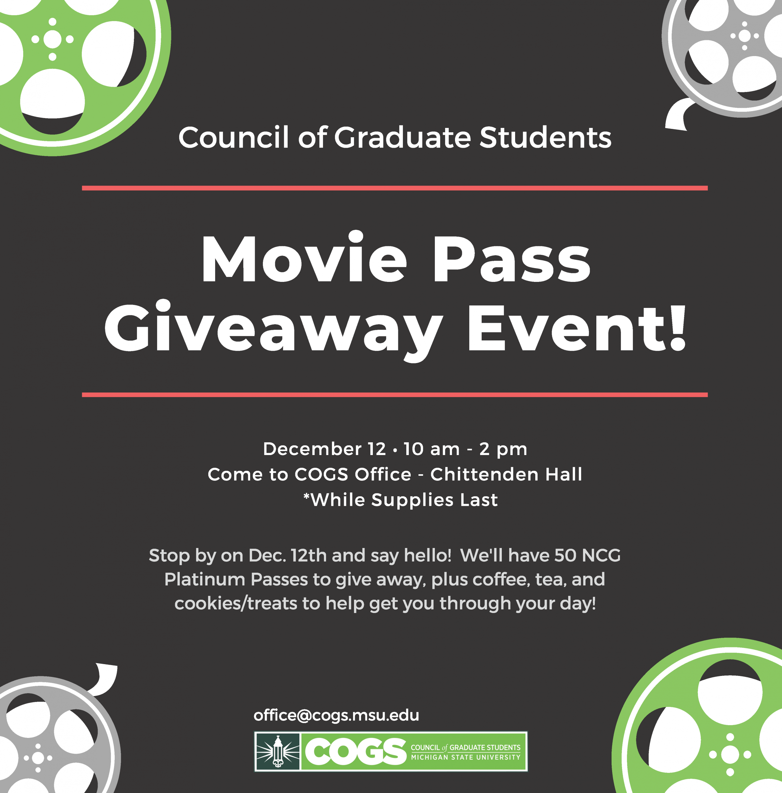 Movie Pass giveaway flyer