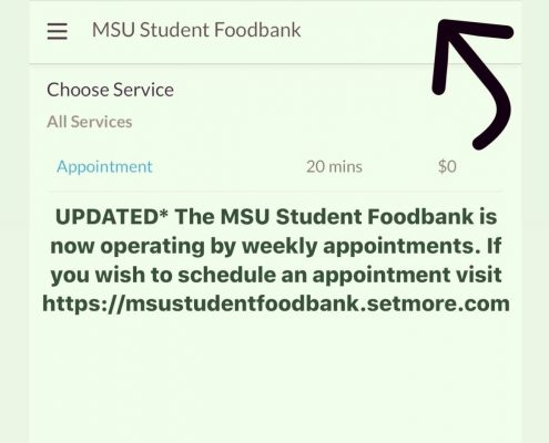 MSU FOODBANK distribution by appointiment flyer
