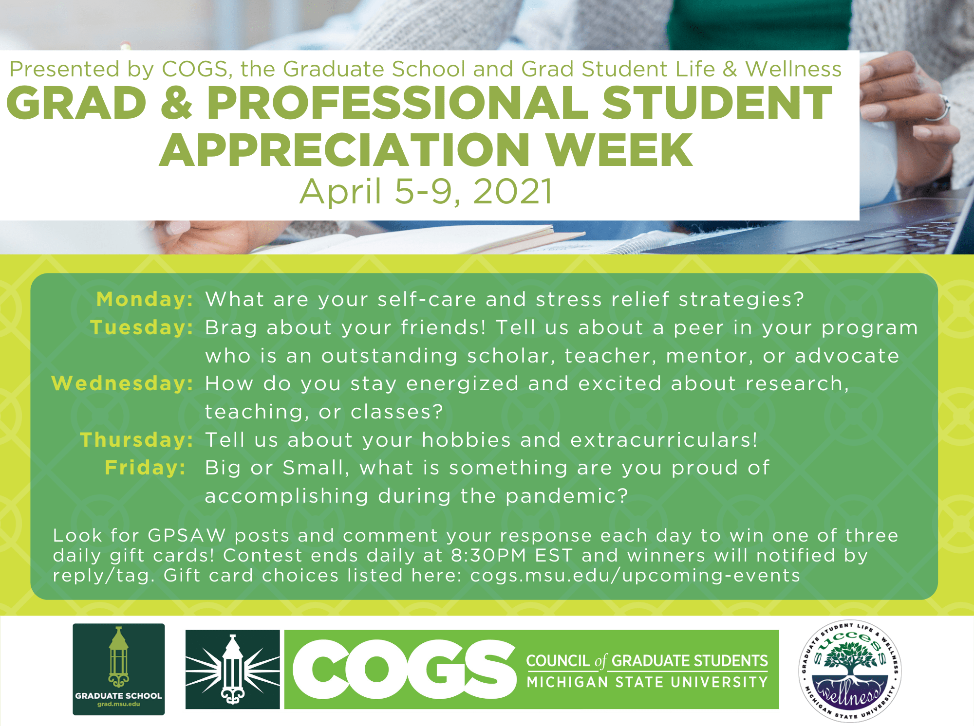 list of Council of Graduate Students events for Grad and professional students appreciate week. text below.