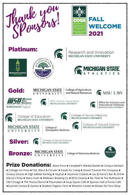 COGS Fall Welcome 2021 Sponsors